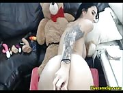 aubreyDiamond Tattooed teen riding a fake cock