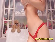 KissaPenny Petite Brunette Teasing Her Clit With Pink Dildo