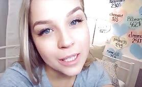 Cute Petite Blonde Cums Multiple Times Live